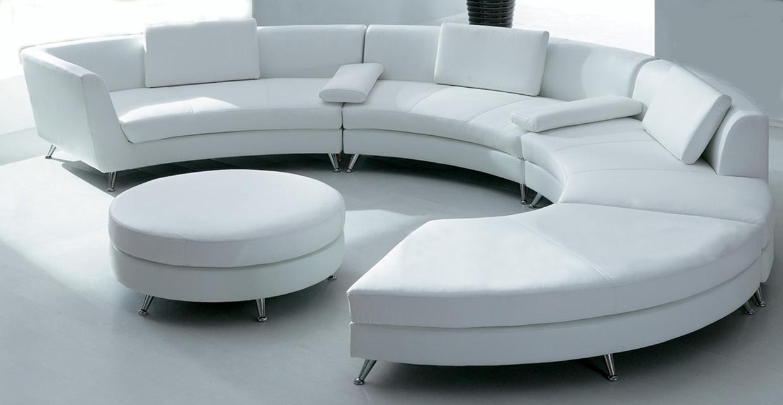Orlando White Circular Leather Sofa Rental