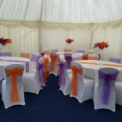Chair Cover Hire In Birmingham Mid Century Modern Desk Puple And Orange Theme Event Styling