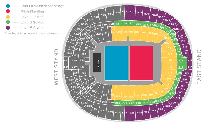 Wembley Stadium Seating Plan Pitch Standing