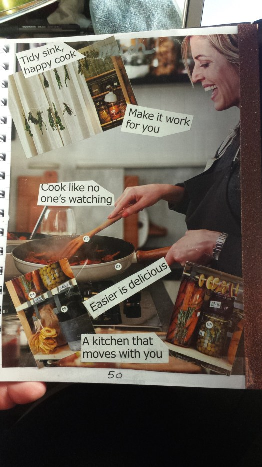 "A blonde, light-skinned woman is joyfully making food in a frying pan. Over the main picture are thre smaller ones of kitchen storage options: jars, dried foods, hanging herbs. Added to the collage are the following words: ""Tidy sink, happy cook"" ""Make it work for you"" ""Cook like no one's watching"" ""Easier is delicious"" and ""A kitchen that moves with you."""