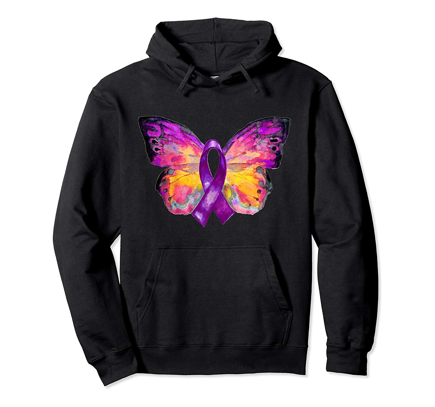 Purple Ribbon Butterfly Overdose Awareness Pullover Hoo