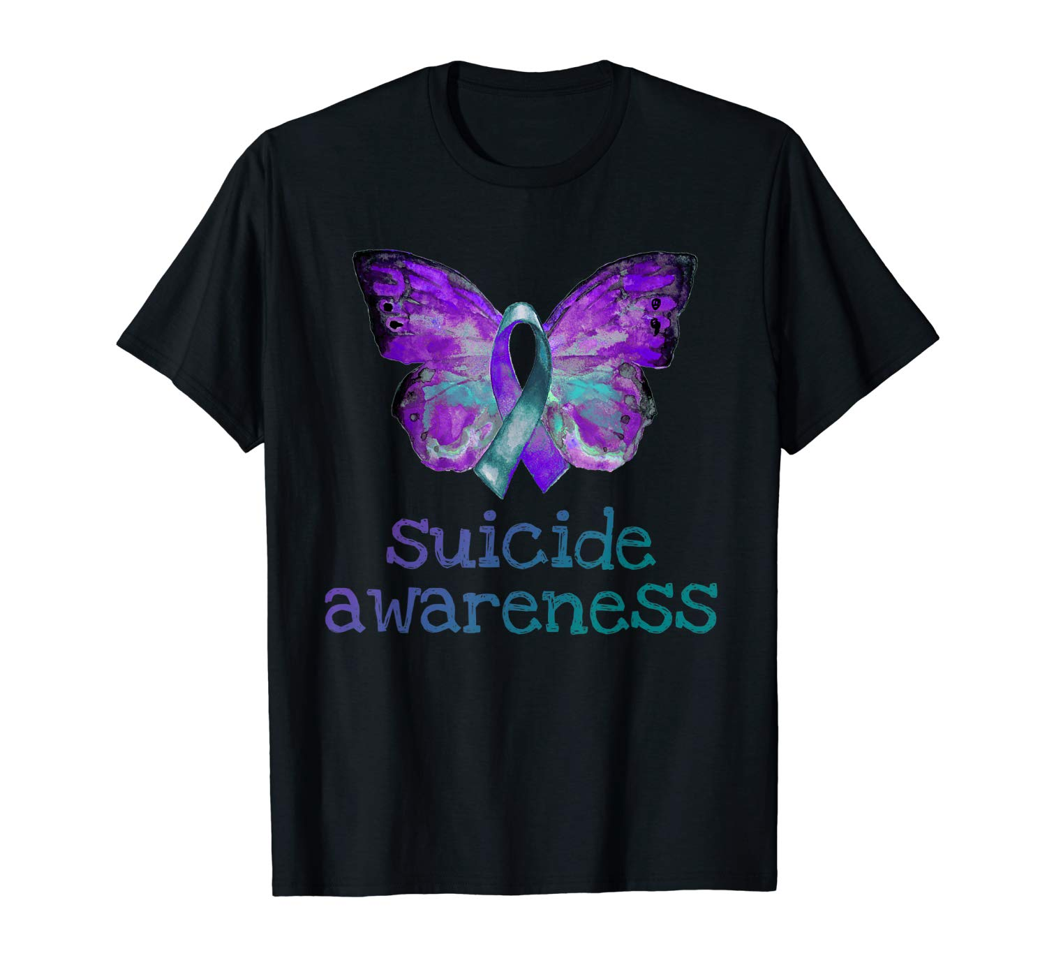 Suicide Awareness Purple Teal Butterfly Semicolon Grief