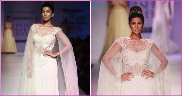 AIFW SS17: Nimrat Kaur Looks A True Vision In White As She Walks The Ramp For Mandira Wirk