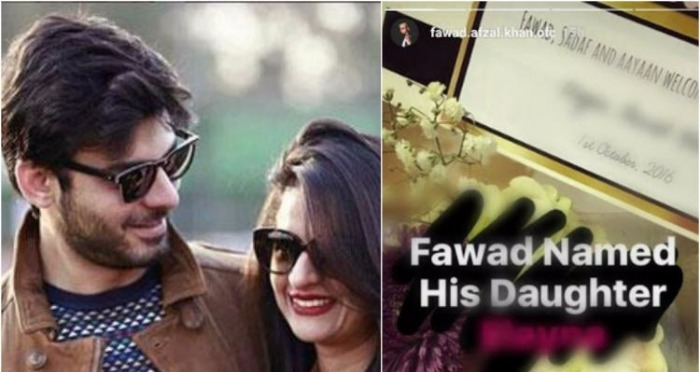 Fawad Khan and His Wife Have Named Their Little Princess With This Unique Name