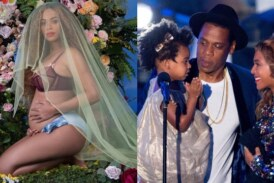 Singer Beyonce Shows Baby Bump Announcing Her Pregnancy With Twins With Husband Jay Z