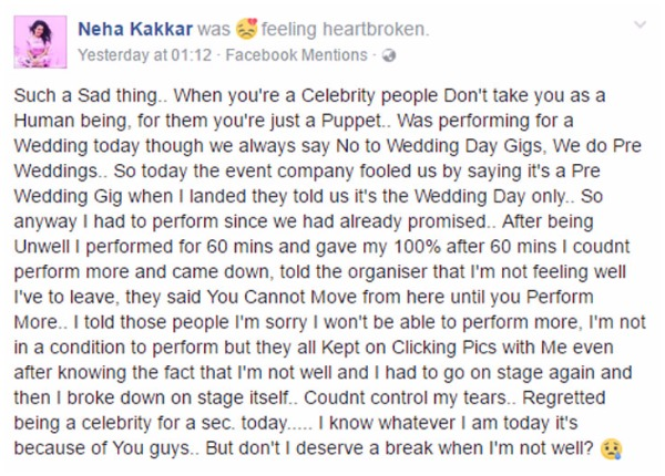Kaala Chashma Singer Neha Kakkar Broke Down On Stage At Wedding