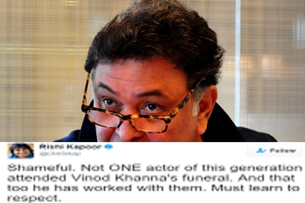 Rishi Kapoor Lashes Out At Young Stars For Not Attending Vinod Khanna's Funeral!