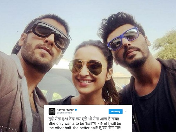 Ranveer Singh, Parineeti Chopra Hilariously Consoles Arjun Kapoor On Having Half Girlfriend