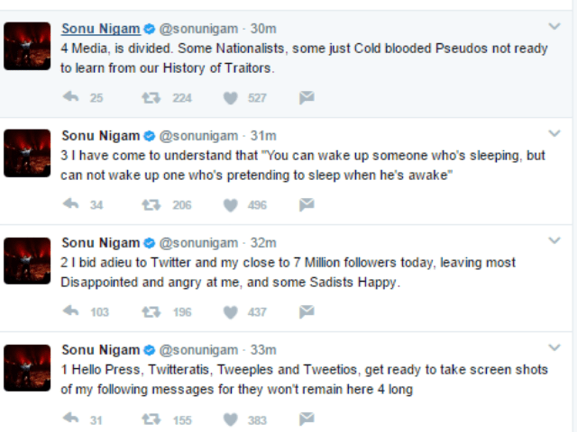 Sonu Nigam Deleted His Twitter Account