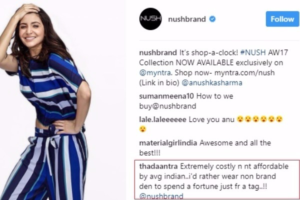 Anushka Sharma Fans React To Sky-High Prices Of Her Signature Clothing Brand 'NUSH'