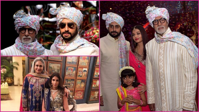 Inside PICS: The Bachchan's Gala Time At The Wedding; Abhishek-Amitabh Twinning Outfit Is Full On Baraati Swag