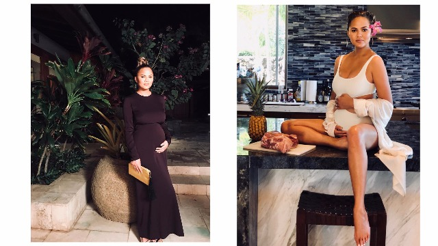 Pregnant Chrissy Teigen Is All Glowing Flaunting Her Baby Bump In A New Photo