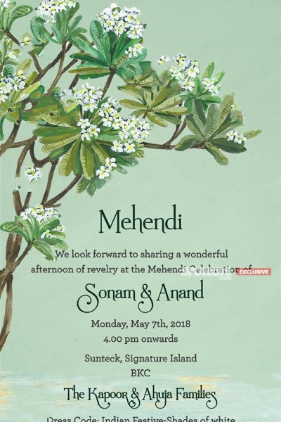 Sonam Kapoor-Anand Ahuja's Wedding Card