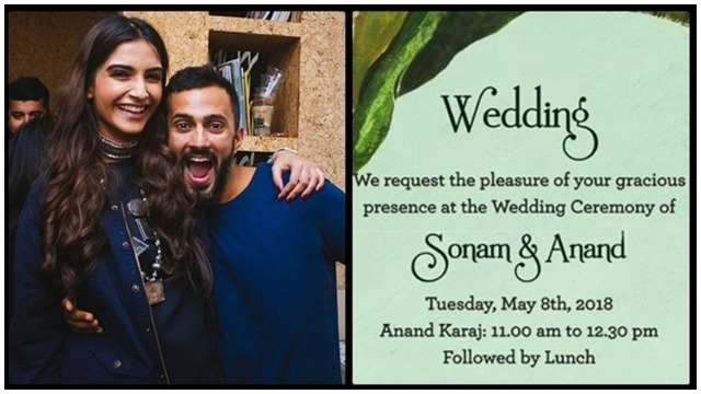 Sonam Kapoor – Anand Ahuja's Wedding Card Is Simple and Elegant – Check