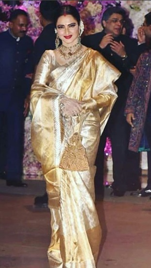 Rekha at Akash Ambani -Shloka Mehta's Grand Engagement