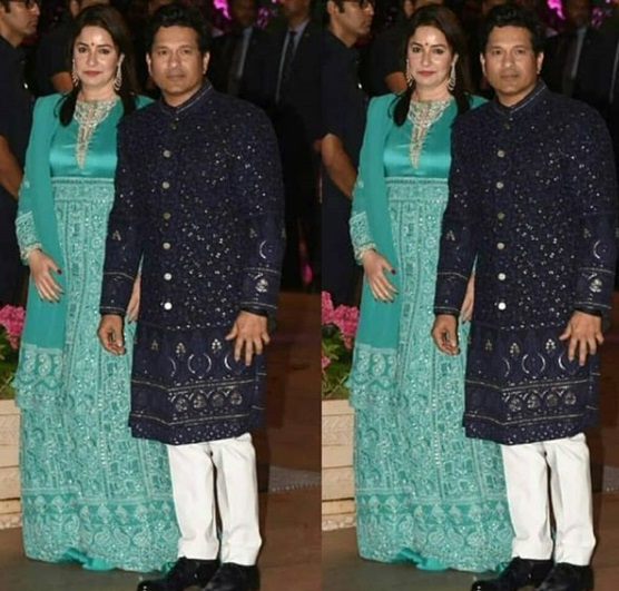 Sachin Tendulkar - Anjali Tendulkar at Shloka Mehta's Grand Engagement