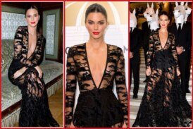 Kendall Jenner Goes Braless at Longchamp event In Sheer Black Gown Flashing Her Underwear