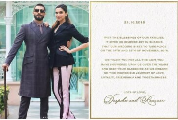 Just In: Ranveer Singh and Deepika Padukone's Wedding Invitation Card Is Here!