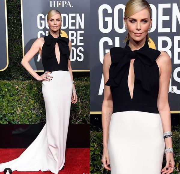 Charlize Theron at Golden Globes 2019 Red Carpet