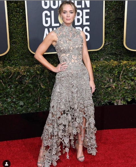 Emily Blunt at Golden Globes 2019 Red Carpet