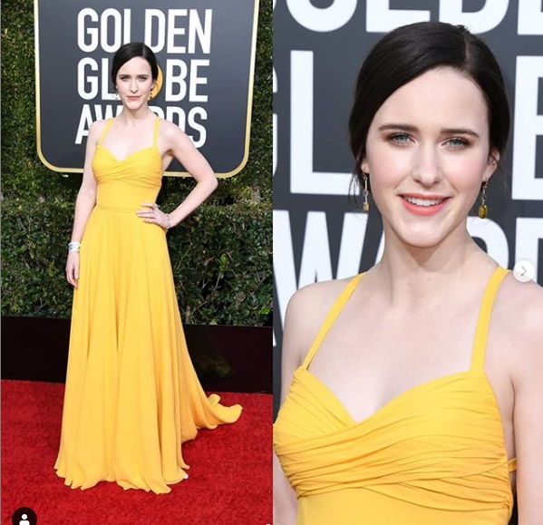 Rachel Brosnahan at Golden Globes 2019 Red Carpet