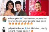 Priyanka Chopra Reacts To Hubby Nick Jonas and Her Ex-Miley Cyrus' Instagram Banter