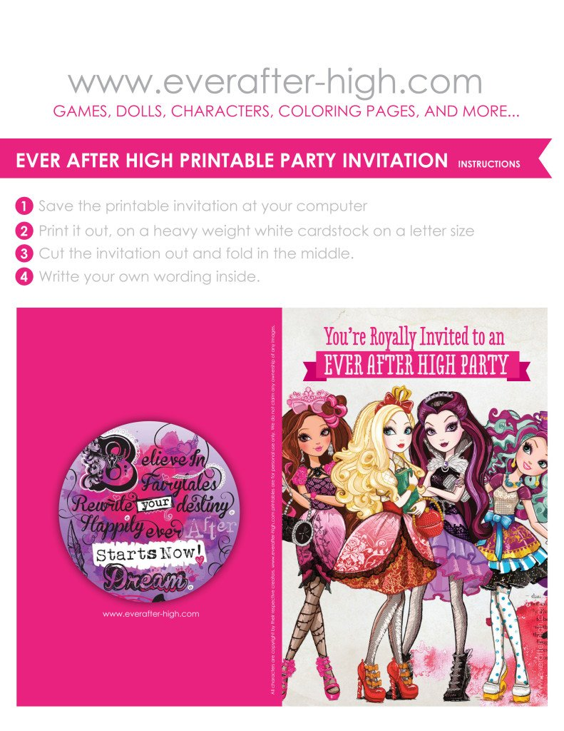 ever after high printable party