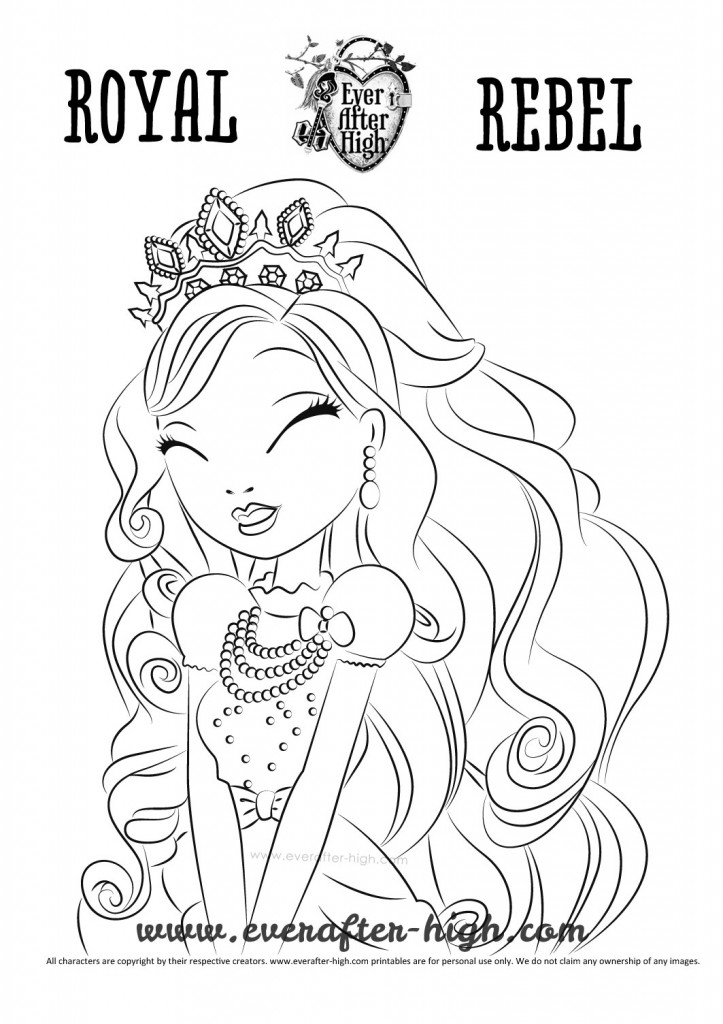 Apple White Royal Beauty dress coloring page