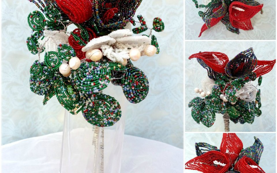Christmas Beaded Floral Sculpture