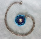 Beautiful blue ombre beaded pendant necklace on stainless steel chain with a freshwater pearl.