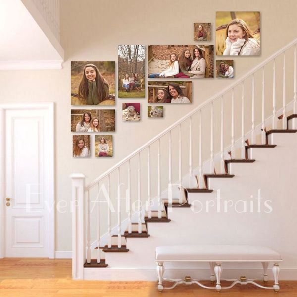 Family Pictures On Staircase Wall