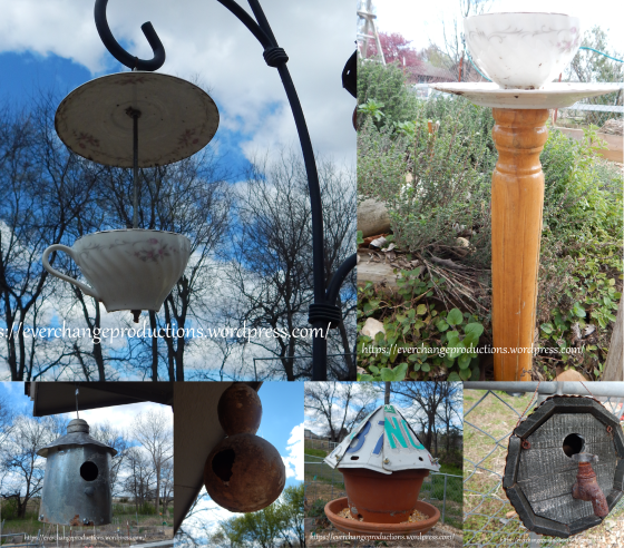 Simple Repurposing Ideas to Add Purpose to Your Garden: Upcycled bird feeders and bird houses