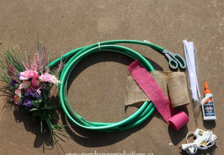 Upcycled Hose Wreath Supplies Needed