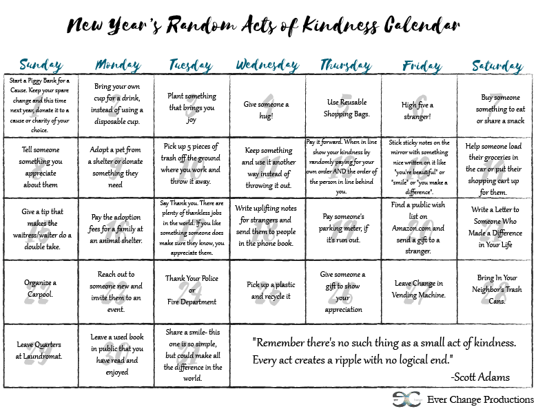 Start the year off right with random acts of kindness!