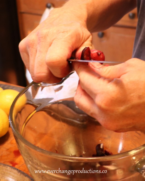 Stem and pit cherries. Chop the cherries into eighths.