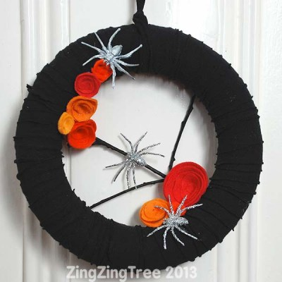 T-Shirt Wreath Wicked Awesome Upcycled Halloween Decorations