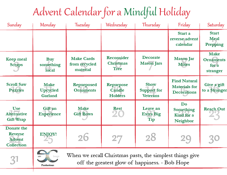 graphic relating to Advent Calendar Printable called 25 Eco-Welcoming Introduction Calendar Actions -