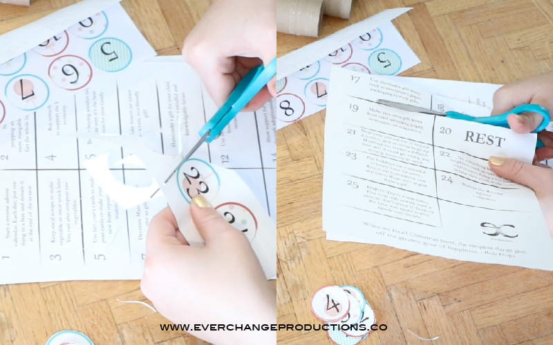 Step Two - Cut out Tags and Activities Cut along the lines or as desired of the printables. You'll have 24 tags, leaving the 25th unlabeled. You'll also have 25 activities to separate to fill each paper roll.