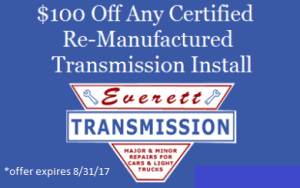 $100 Off Any Certified Re-Manufactured Transmission Install