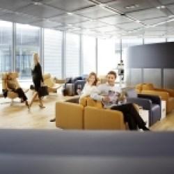Blick in die Lufthansa Business Lounge; neues Design./view into the Lufthansa Business Lounge; new design.