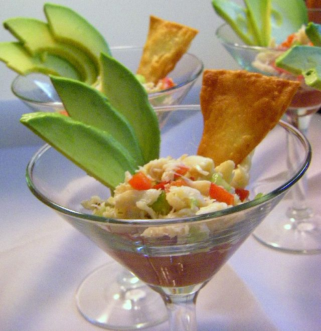 Image result for crab with cocktail sauce in a glass
