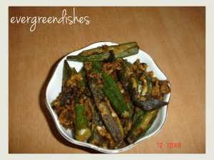 stuffed okra  Stuffed Bhendi stuffed okra 300x225