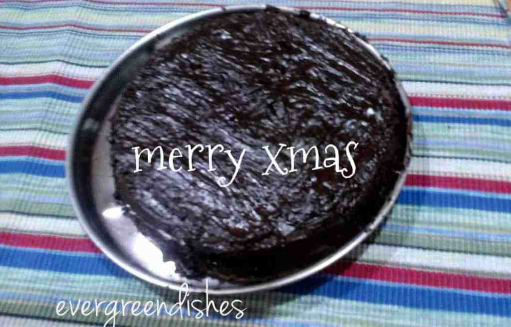 Chocolate cake with ganache for X mas
