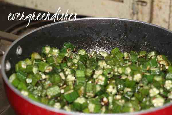 The roasted okra goes into it.