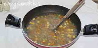 sweeet corn vegetable soup is ready