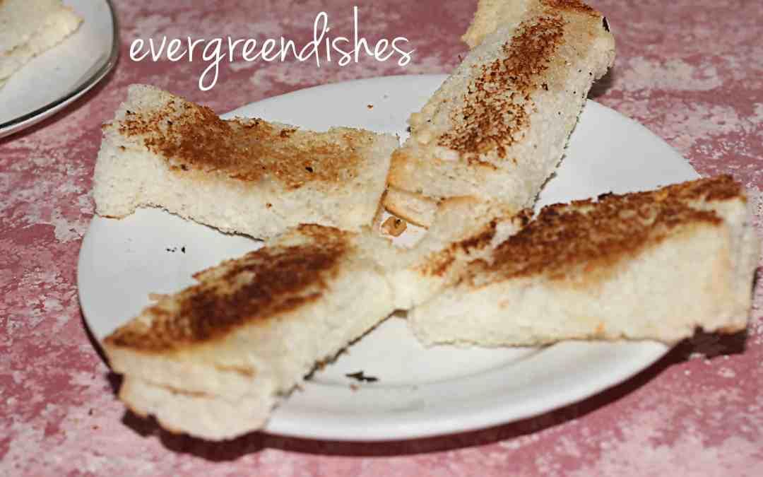 Roasted paneer slabs/bread roll in steps