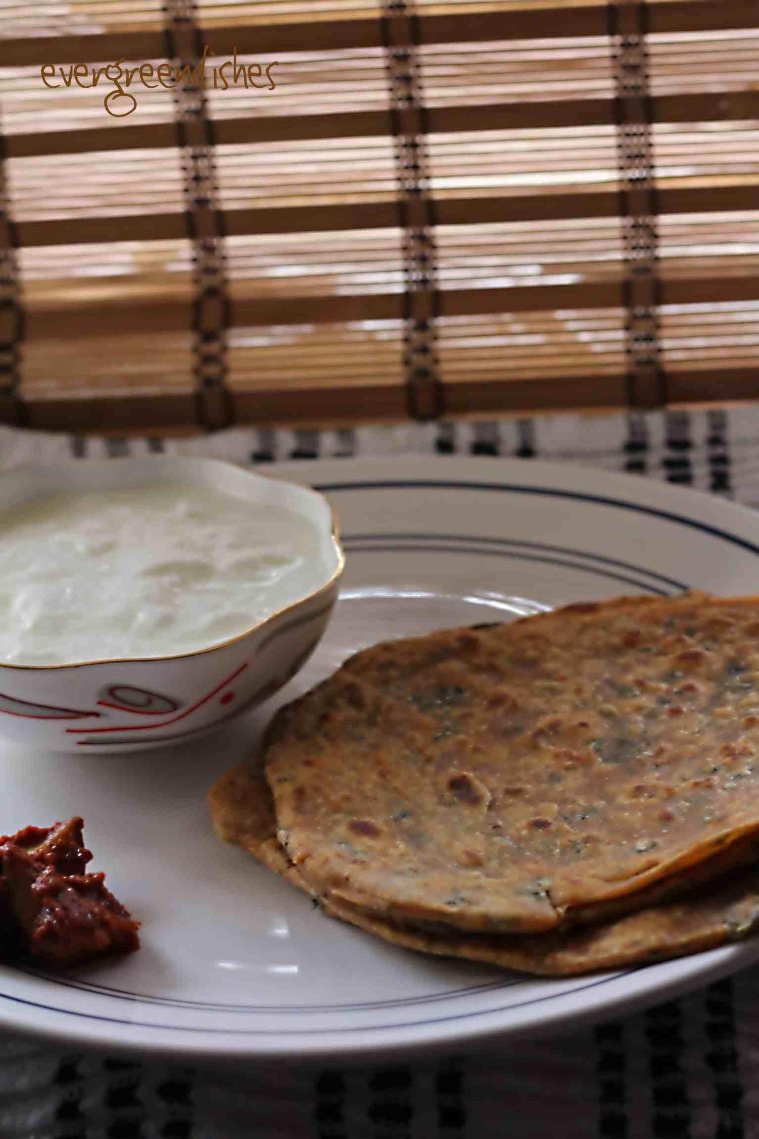 Mint paratha, pudina paratha in steps