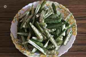 bhindi pieces  Kurkuri bhindi | crispy bhindi fry bhindi 1 300x200