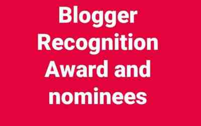 Blogger Recognition Award 2017 and nominees