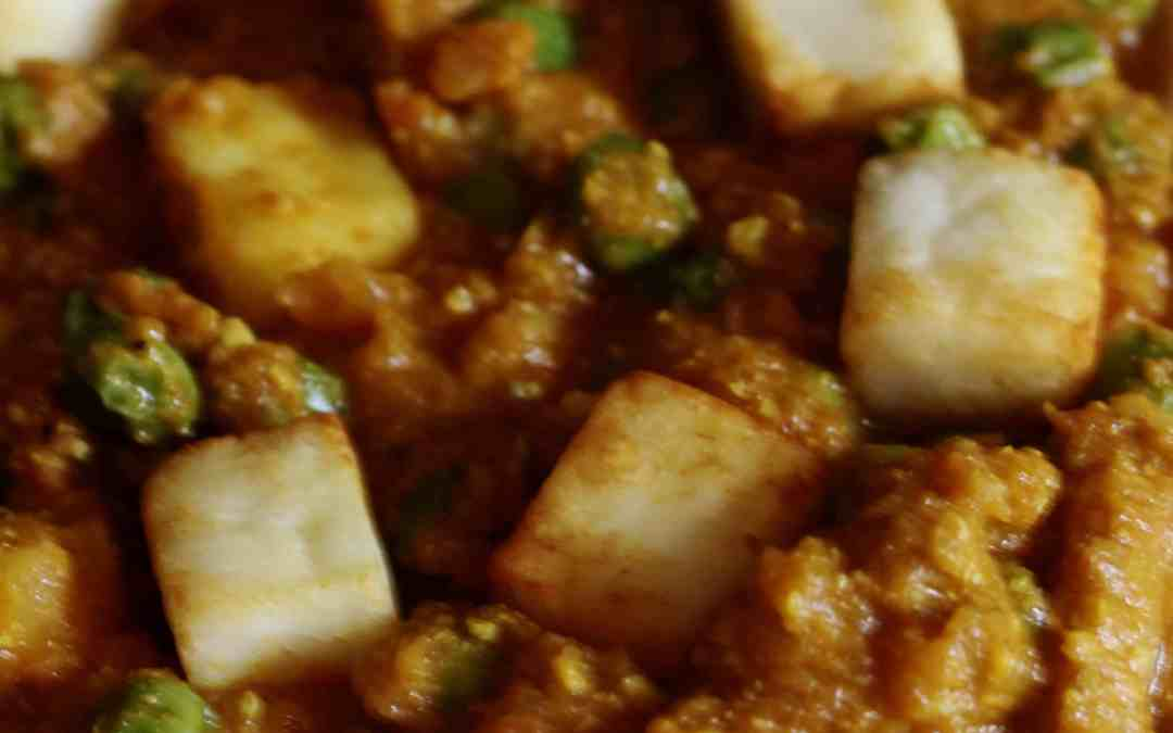 Matar Paneer, North Indian cottage cheese and peas in gravy